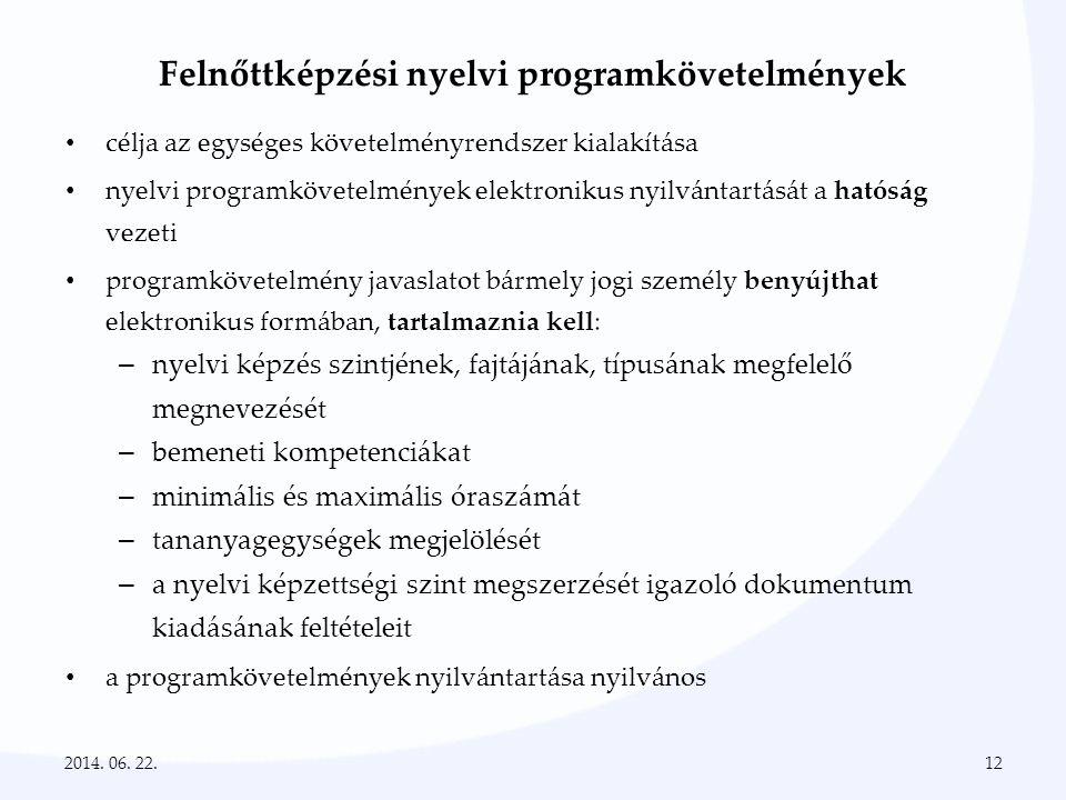 Felnőttképzési nyelvi programkövetelmények • célja az egységes követelményrendszer kialakítása • nyelvi programkövetelmények elektronikus nyilvántartá