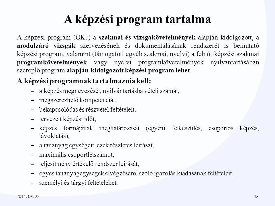 A képzési program tartalma A képzési program (OKJ) a szakmai és vizsgakövetelmények alapján kidolgozott, a modulzáró vizsgák szervezésének és dokument
