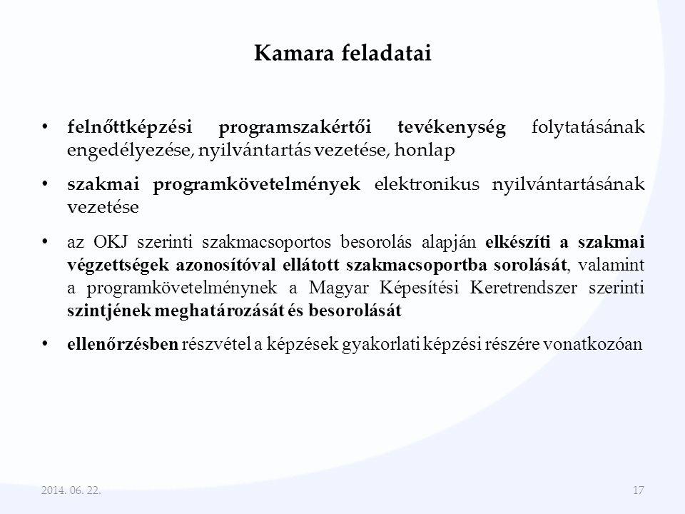 Kamara feladatai • felnőttképzési programszakértői tevékenység folytatásának engedélyezése, nyilvántartás vezetése, honlap • szakmai programkövetelmén