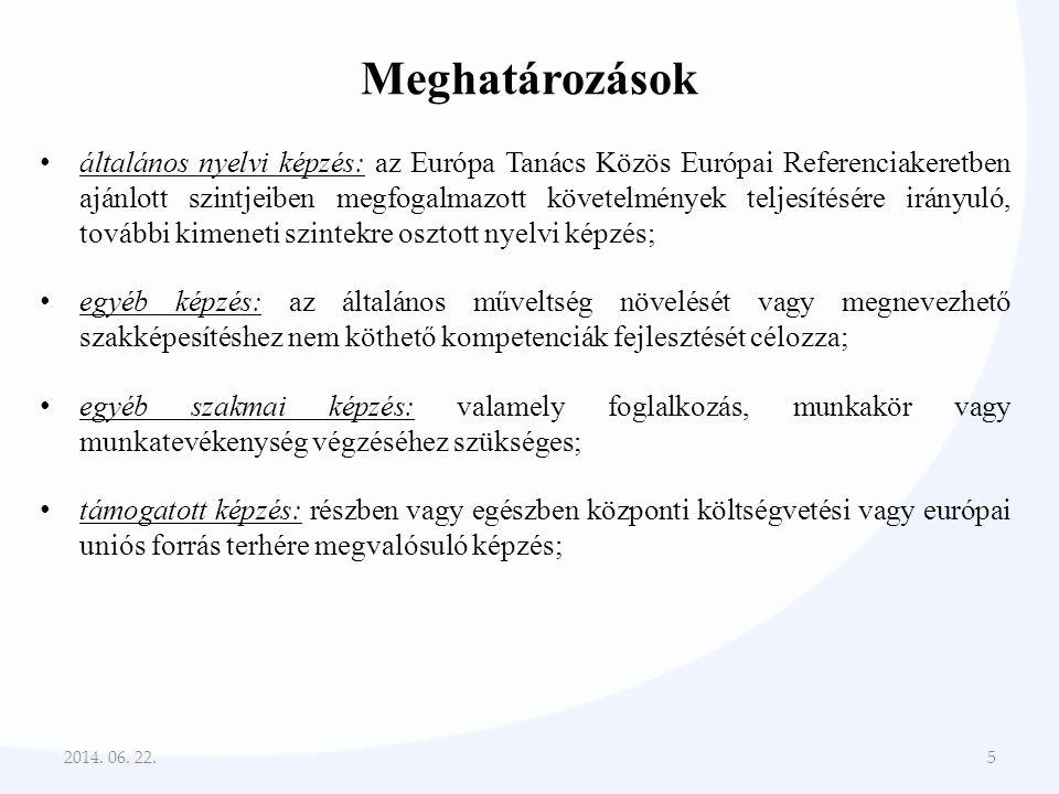 Meghatározások • általános nyelvi képzés: az Európa Tanács Közös Európai Referenciakeretben ajánlott szintjeiben megfogalmazott követelmények teljesít