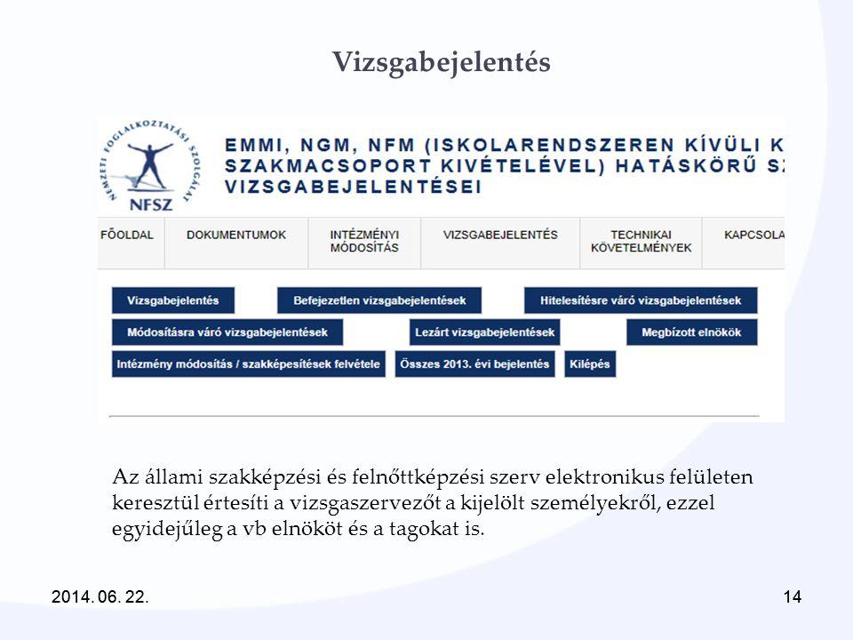 2014. 06. 22.142014. 06. 22.14 Vizsgabejelentés Az állami szakképzési és felnőttképzési szerv elektronikus felületen keresztül értesíti a vizsgaszerve
