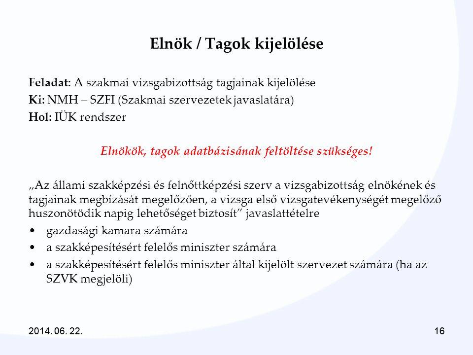 2014. 06. 22.162014. 06. 22.16 Elnök / Tagok kijelölése Feladat: A szakmai vizsgabizottság tagjainak kijelölése Ki: NMH – SZFI (Szakmai szervezetek ja