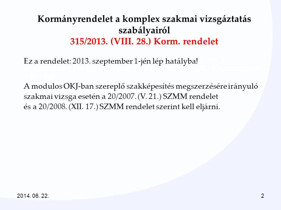 2014. 06. 22.2 Kormányrendelet a komplex szakmai vizsgáztatás szabályairól 315/2013. (VIII. 28.) Korm. rendelet Ez a rendelet: 2013. szeptember 1-jén