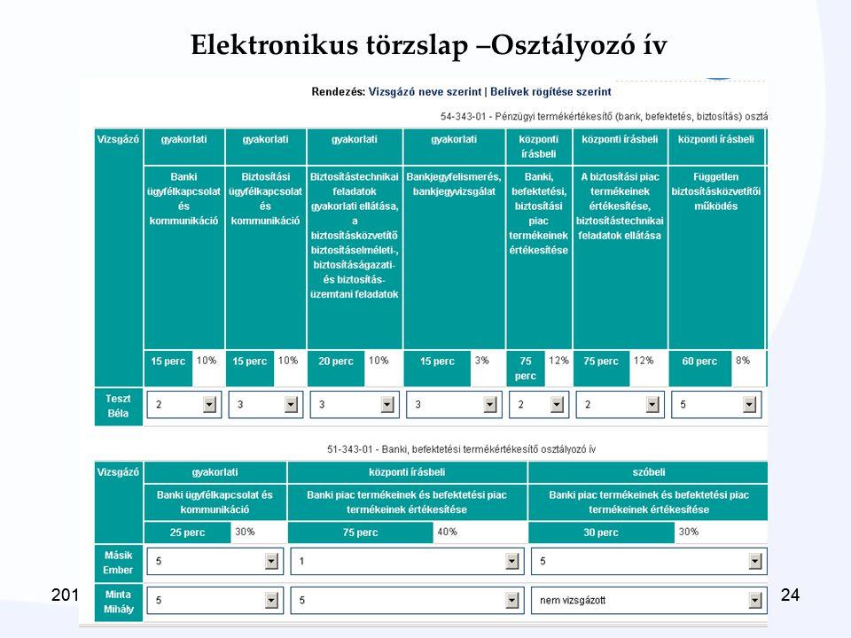 2014. 06. 22.242014. 06. 22.24 Elektronikus törzslap –Osztályozó ív