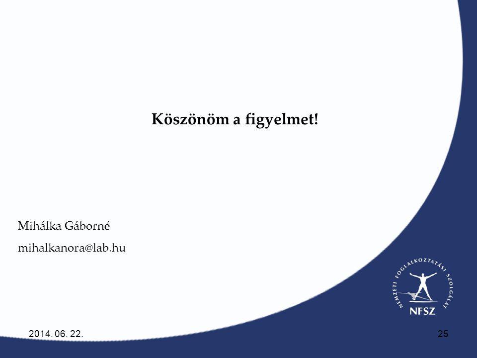 2014. 06. 22.25 Köszönöm a figyelmet! Mihálka Gáborné mihalkanora@lab.hu