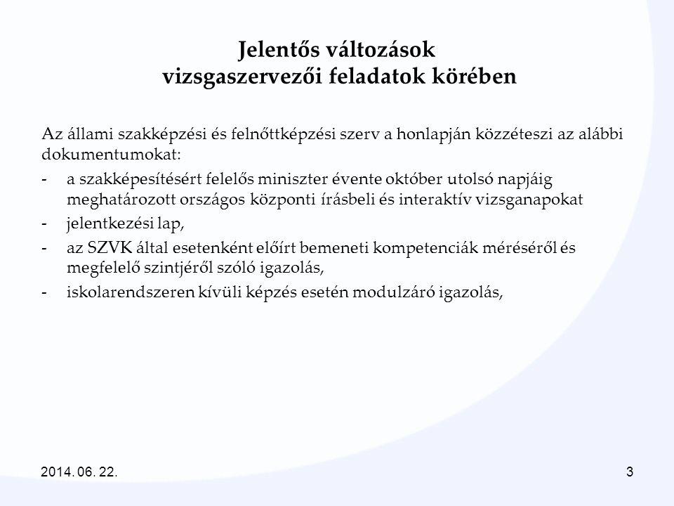 2014. 06. 22.3 Az állami szakképzési és felnőttképzési szerv a honlapján közzéteszi az alábbi dokumentumokat: -a szakképesítésért felelős miniszter év