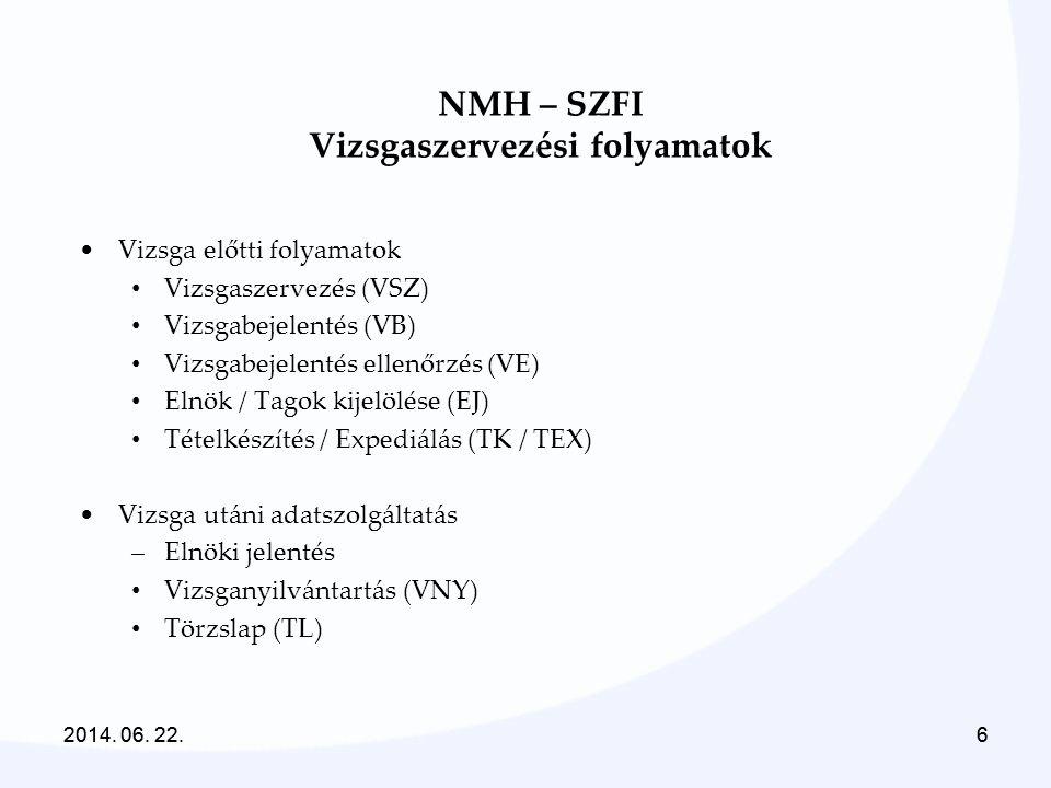2014. 06. 22.6 6 NMH – SZFI Vizsgaszervezési folyamatok •Vizsga előtti folyamatok • Vizsgaszervezés (VSZ) • Vizsgabejelentés (VB) • Vizsgabejelentés e