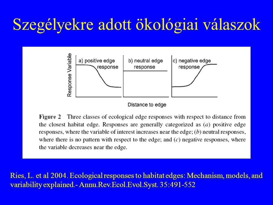 Szegélyekre adott ökológiai válaszok Ries, L. et al 2004. Ecological responses to habitat edges: Mechanism, models, and variability explained.- Annu.R