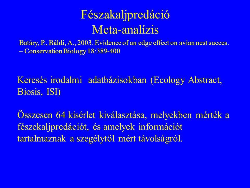 Fészakaljpredáció Meta-analízis Batáry, P., Báldi, A., 2003. Evidence of an edge effect on avian nest succes. – Conservation Biology 18:389-400 Keresé