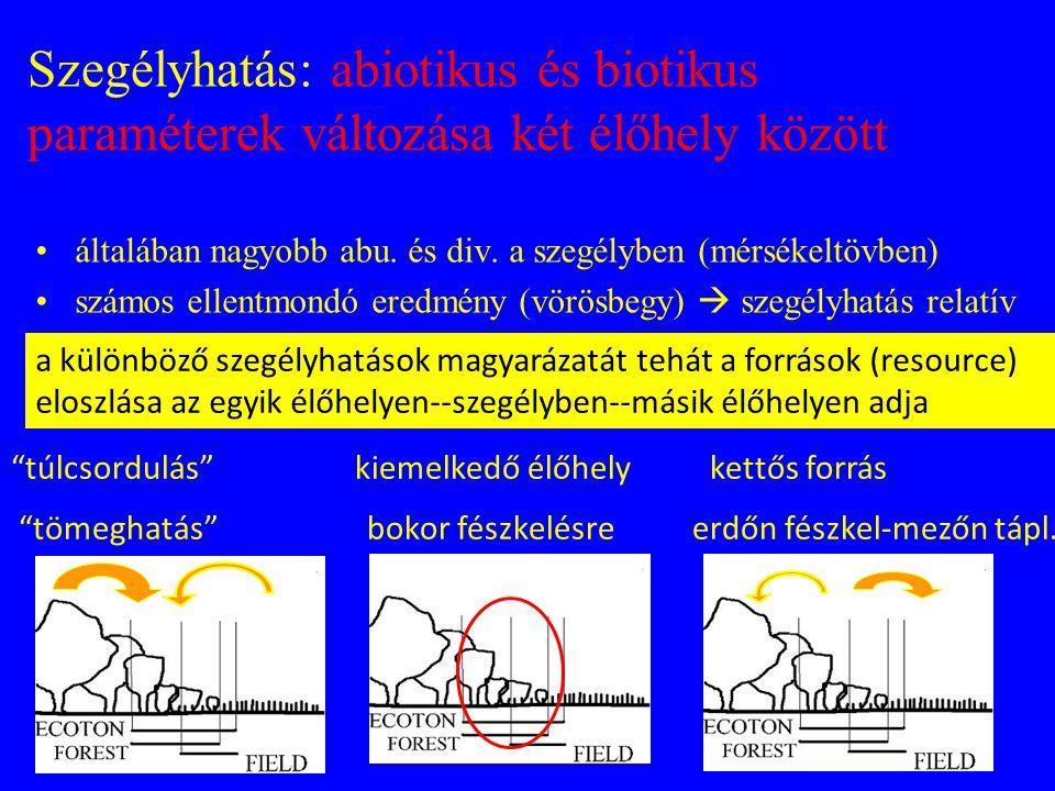 Szegélyhatás: abiotikus és biotikus paraméterek változása két élőhely között •általában nagyobb abu. és div. a szegélyben (mérsékeltövben) •számos ell