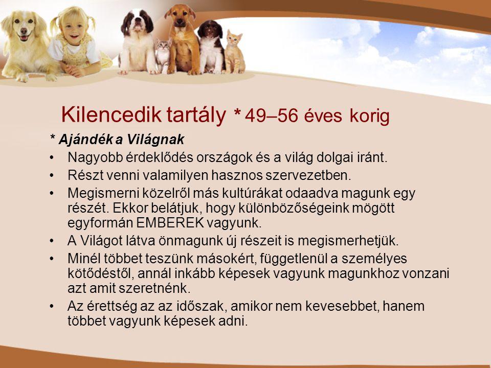 Kilencedik tartály * 49–56 éves korig * Ajándék a Világnak •Nagyobb érdeklődés országok és a világ dolgai iránt. •Részt venni valamilyen hasznos szerv