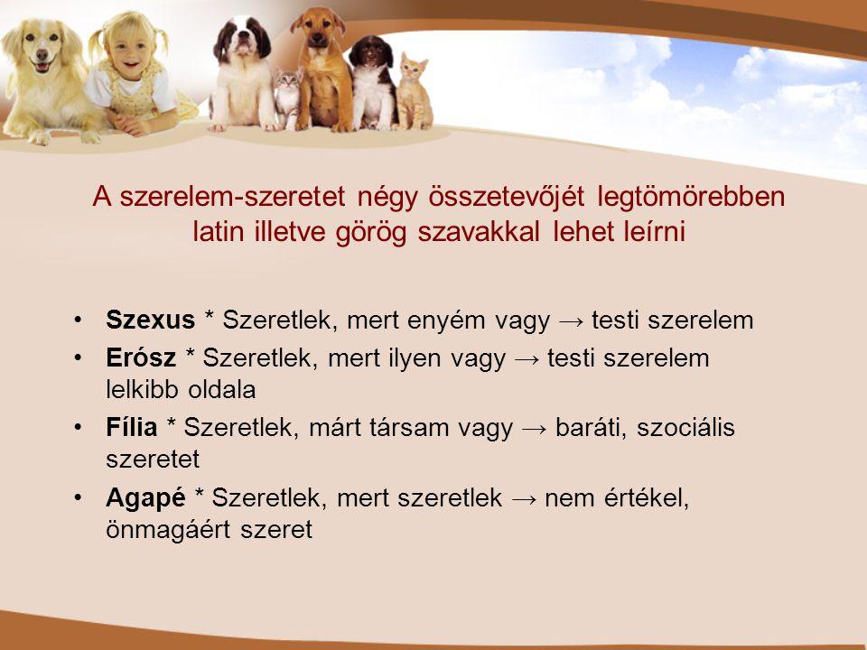 A szerelem-szeretet négy összetevőjét legtömörebben latin illetve görög szavakkal lehet leírni •Szexus * Szeretlek, mert enyém vagy → testi szerelem •