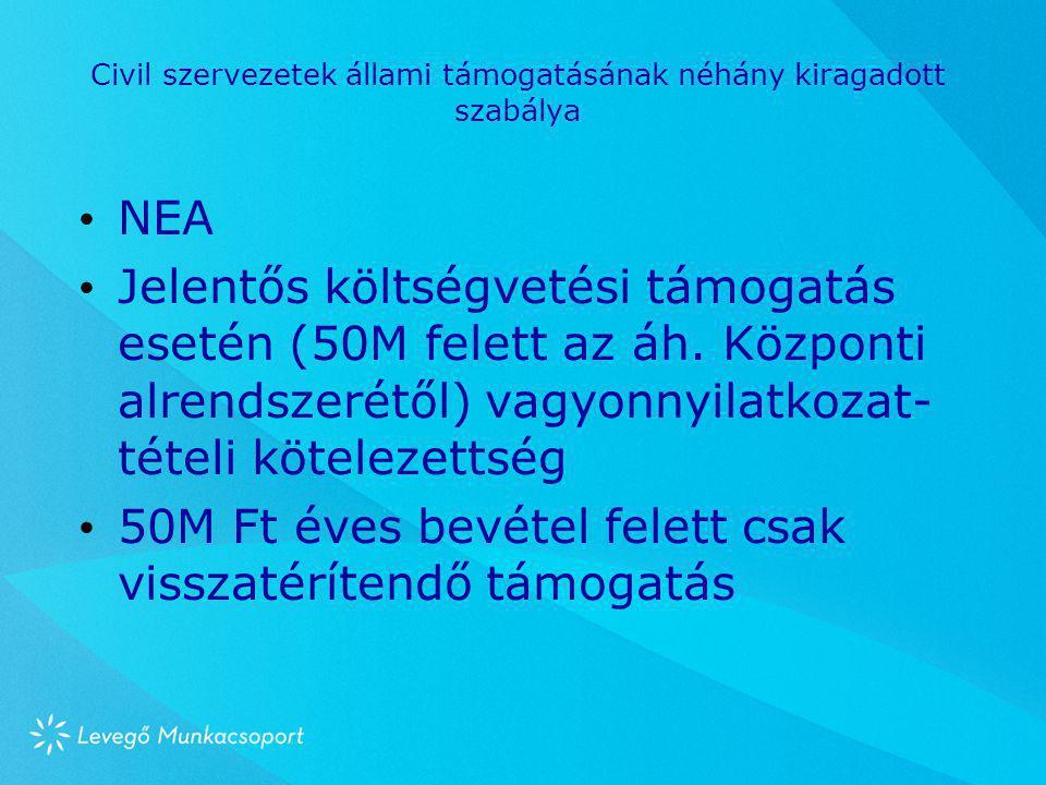 Civil szervezetek állami támogatásának néhány kiragadott szabálya • NEA • Jelentős költségvetési támogatás esetén (50M felett az áh. Központi alrendsz