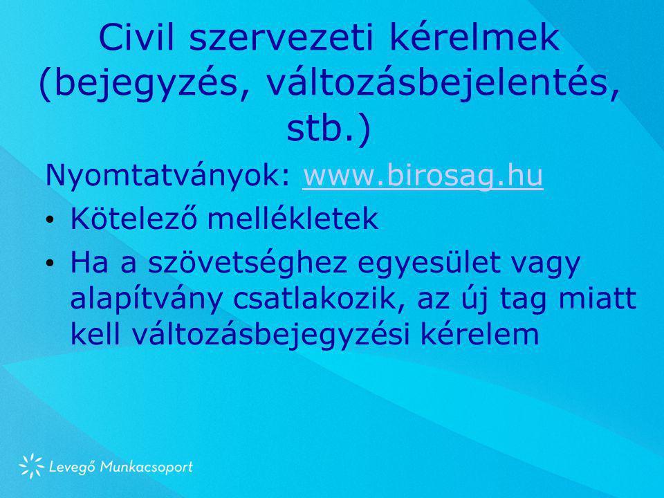 Civil szervezeti kérelmek (bejegyzés, változásbejelentés, stb.) Nyomtatványok: www.birosag.huwww.birosag.hu • Kötelező mellékletek • Ha a szövetséghez