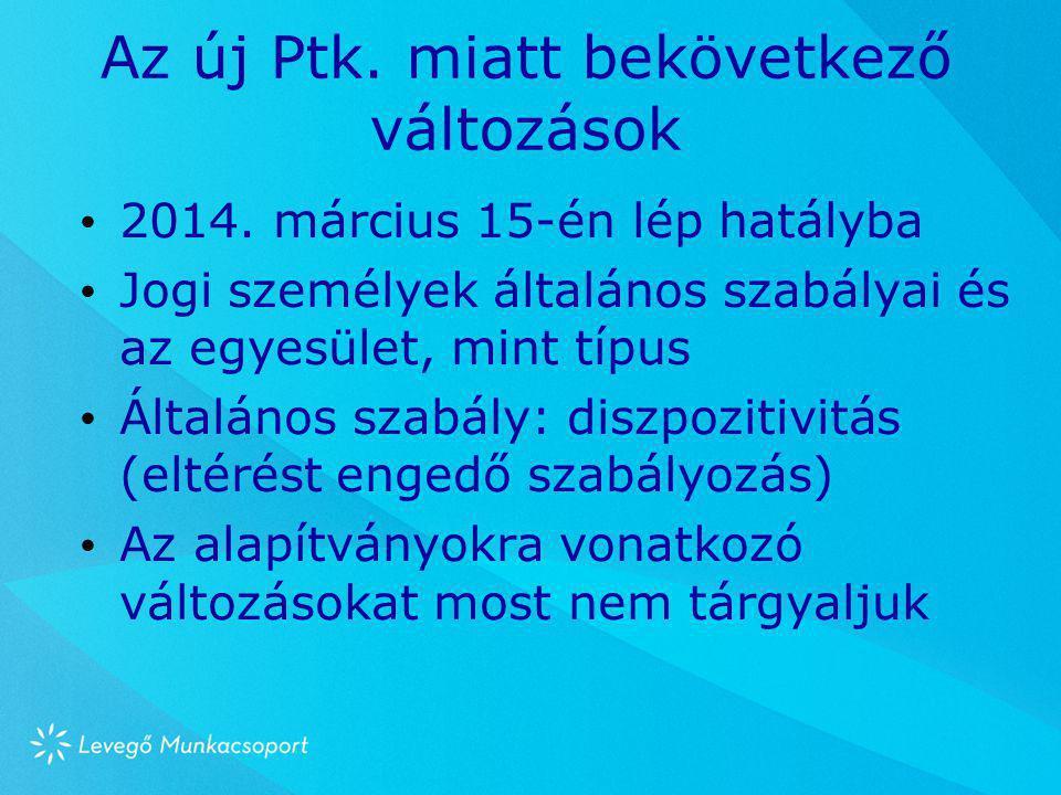 Az új Ptk. miatt bekövetkező változások • 2014. március 15-én lép hatályba • Jogi személyek általános szabályai és az egyesület, mint típus • Általáno