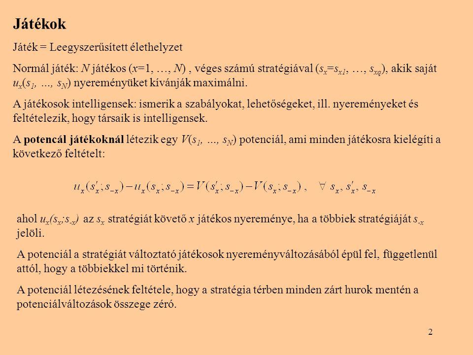 2 Játékok Játék = Leegyszerűsített élethelyzet Normál játék: N játékos (x=1, …, N), véges számú stratégiával (s x =s x1, …, s xq ), akik saját u x (s