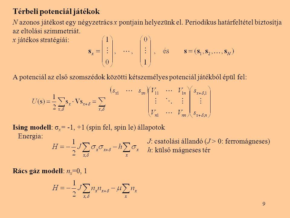 """10 ami kielégíti a részletes egyensúly feltételét minden lehetséges oda-vissza átmenet esetében Sztochasztikus dinamika A """"logit szabály a nagyobb egyéni nyeremény illetve a magasabb U(s) potenciál irányába tereli a rendszert hasonlóan a Glauber, A részletes egyensúly és a Boltzmann eloszlás változatlanul megmarad, ha az oda- vissza átmenetek w(s→s' ) és w(s'→s) valószínűségét ugyanazzal a szorzófaktorral megváltoztatjuk."""