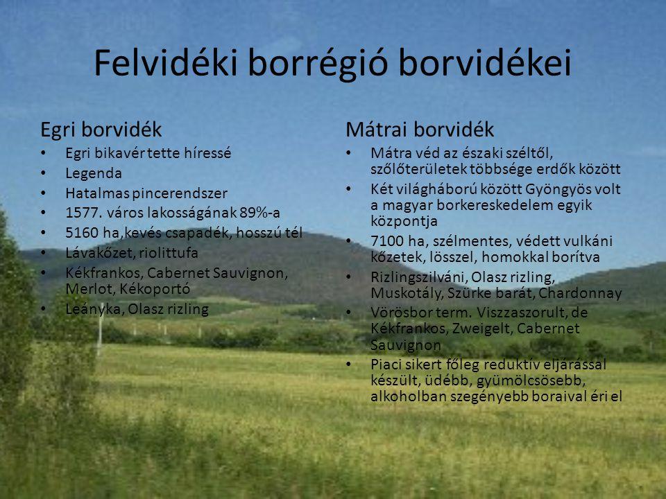Felvidéki borrégió borvidékei Egri borvidék • Egri bikavér tette híressé • Legenda • Hatalmas pincerendszer • 1577. város lakosságának 89%-a • 5160 ha
