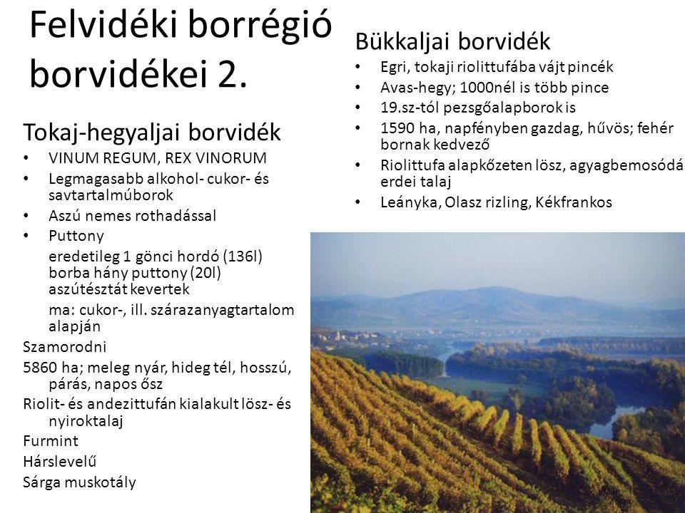 Felvidéki borrégió borvidékei 2. Tokaj-hegyaljai borvidék • VINUM REGUM, REX VINORUM • Legmagasabb alkohol- cukor- és savtartalmúborok • Aszú nemes ro