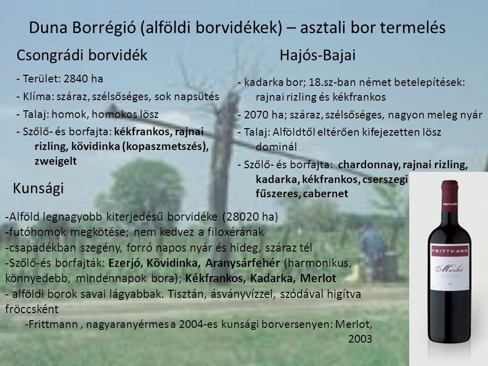 Duna Borrégió (alföldi borvidékek) – asztali bor termelés - Terület: 2840 ha - Klíma: száraz, szélsőséges, sok napsütés - Talaj: homok, homokos lösz -