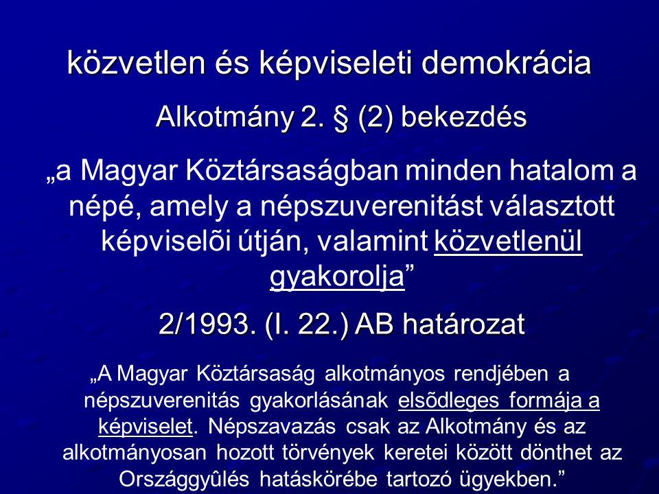 """közvetlen és képviseleti demokrácia Alkotmány 2. § (2) bekezdés """"a Magyar Köztársaságban minden hatalom a népé, amely a népszuverenitást választott ké"""