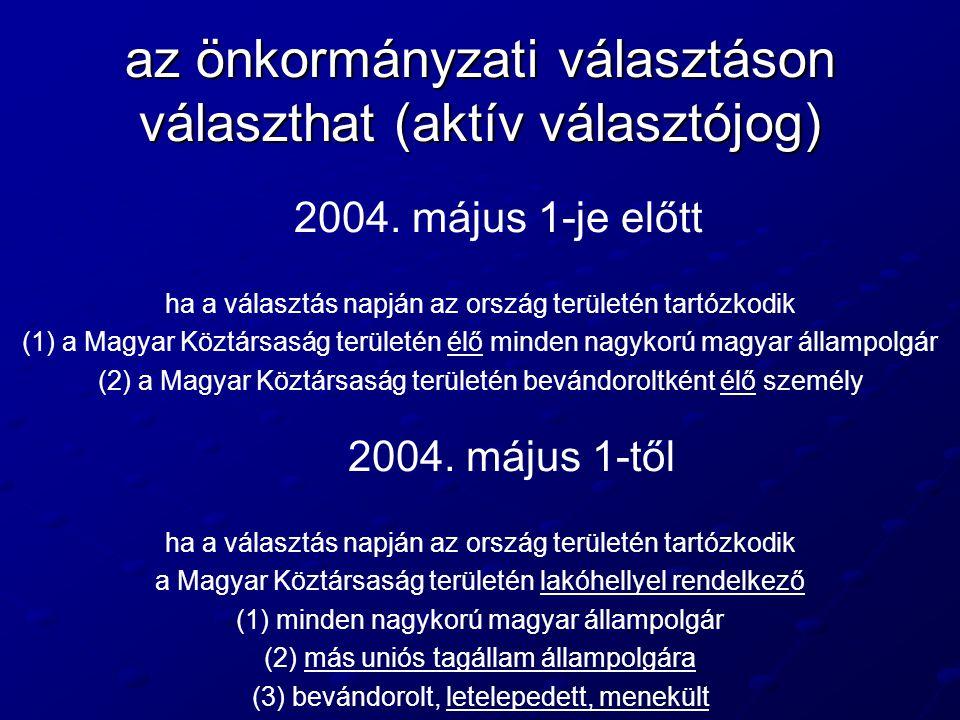 az önkormányzati választáson választhat (aktív választójog) 2004. május 1-je előtt ha a választás napján az ország területén tartózkodik (1) a Magyar