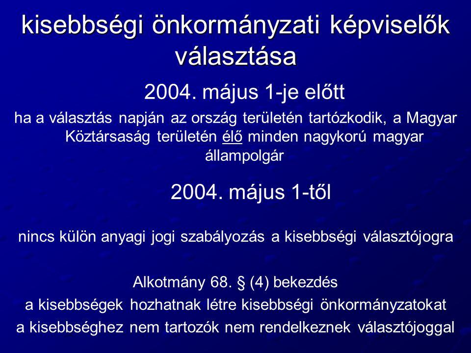 kisebbségi önkormányzati képviselők választása 2004. május 1-je előtt ha a választás napján az ország területén tartózkodik, a Magyar Köztársaság terü