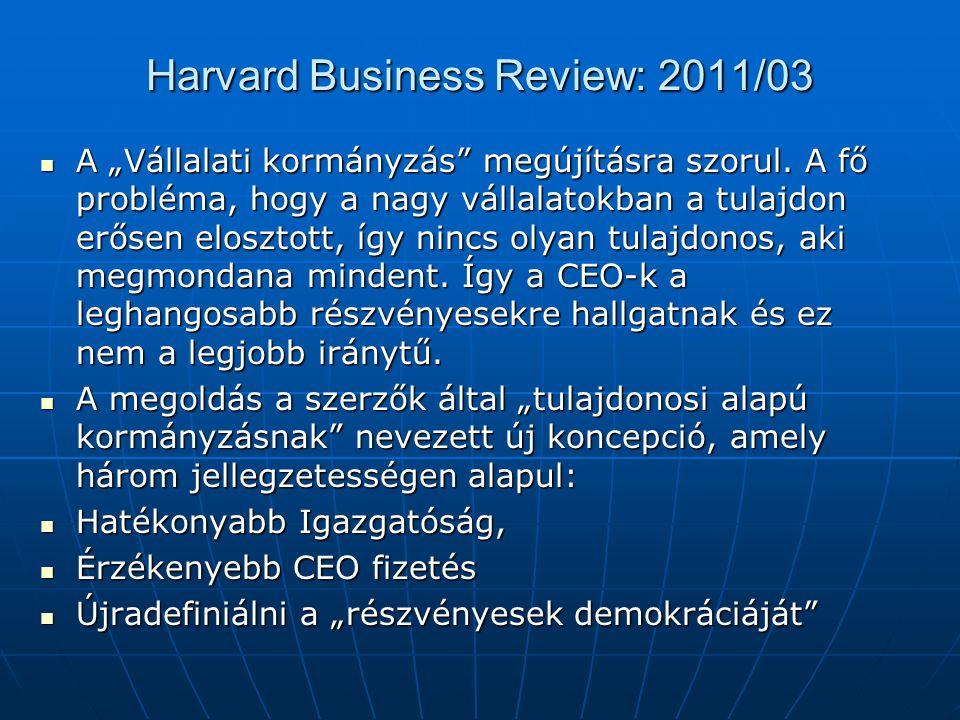 """Harvard Business Review: 2011/03  A """"Vállalati kormányzás"""" megújításra szorul. A fő probléma, hogy a nagy vállalatokban a tulajdon erősen elosztott,"""