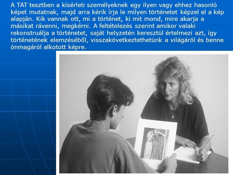 A TAT tesztben a kísérleti személyeknek egy ilyen vagy ehhez hasonló képet mutatnak, majd arra kérik írja le milyen történetet képzel el a kép alapján