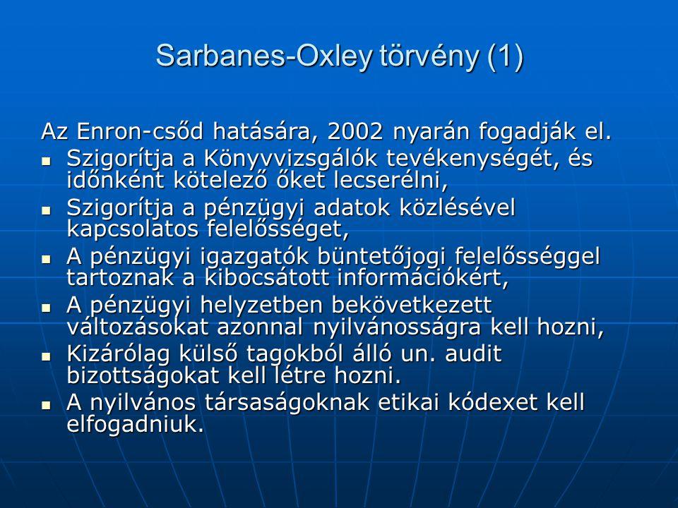 Sarbanes-Oxley törvény (1) Az Enron-csőd hatására, 2002 nyarán fogadják el.  Szigorítja a Könyvvizsgálók tevékenységét, és időnként kötelező őket lec