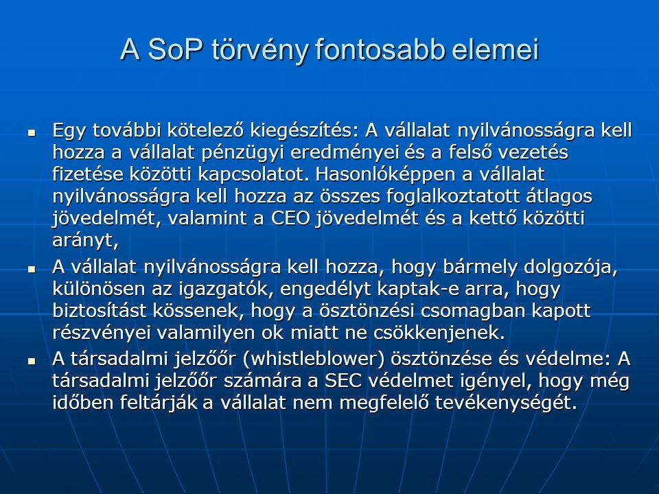 A SoP törvény fontosabb elemei  Egy további kötelező kiegészítés: A vállalat nyilvánosságra kell hozza a vállalat pénzügyi eredményei és a felső veze