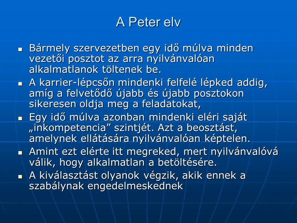 A Peter elv  Bármely szervezetben egy idő múlva minden vezetői posztot az arra nyilvánvalóan alkalmatlanok töltenek be.  A karrier-lépcsőn mindenki