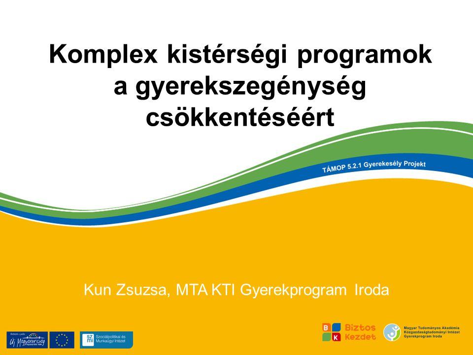 Komplex kistérségi programok a gyerekszegénység csökkentéséért Kun Zsuzsa, MTA KTI Gyerekprogram Iroda