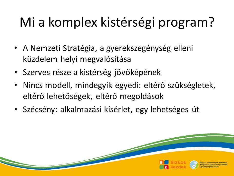 Mi a komplex kistérségi program? • A Nemzeti Stratégia, a gyerekszegénység elleni küzdelem helyi megvalósítása • Szerves része a kistérség jövőképének