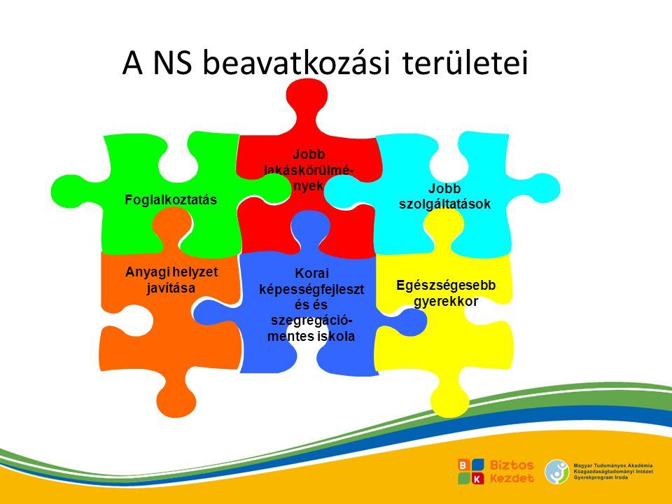 A NS beavatkozási területei Jobb lakáskörülmé- nyek Korai képességfejleszt és és szegregáció- mentes iskola Anyagi helyzet javítása Foglalkoztatás Egészségesebb gyerekkor Jobb szolgáltatások