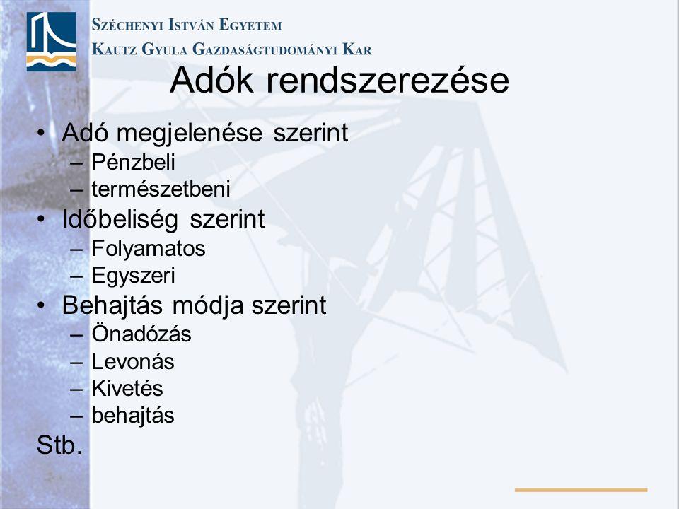 Adózás rendje •2003.évi XCII.