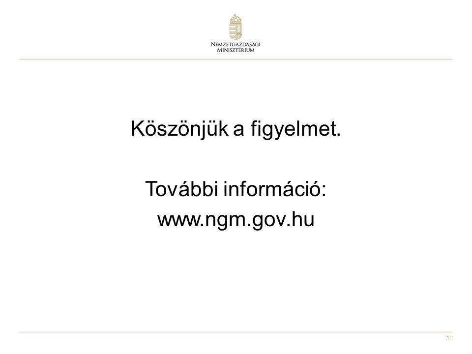 12 Köszönjük a figyelmet. További információ: www.ngm.gov.hu