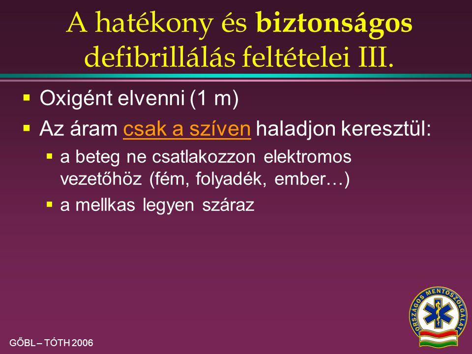GŐBL – TÓTH 2006 A hatékony és biztonságos defibrillálás feltételei II.  Az áram haladjon keresztül a szíven:  elektródpaszta / kontakt–lapok  a de