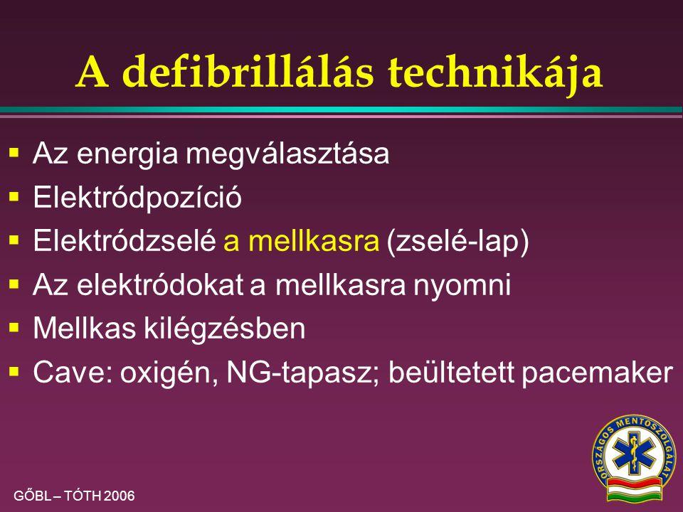 GŐBL – TÓTH 2006 A hatékony és biztonságos defibrillálás feltételei III.  Oxigént elvenni (1 m)  Az áram csak a szíven haladjon keresztül:  a beteg