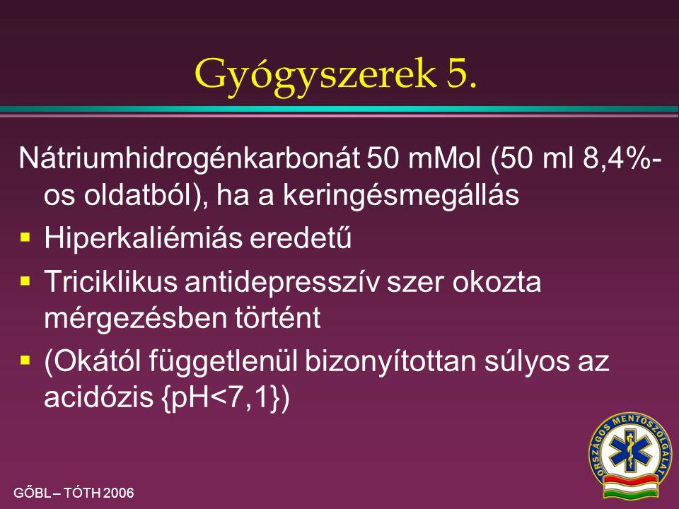 GŐBL – TÓTH 2006 Gyógyszerek 4.  Refrakter VF: Ha magnéziumhiány gyanított (diuretizált, hipokaliémiás beteg): magnéziumszulfát 2 g iv.