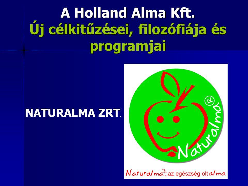 A Holland Alma Kft. Új célkitűzései, filozófiája és programjai NATURALMA ZRT.