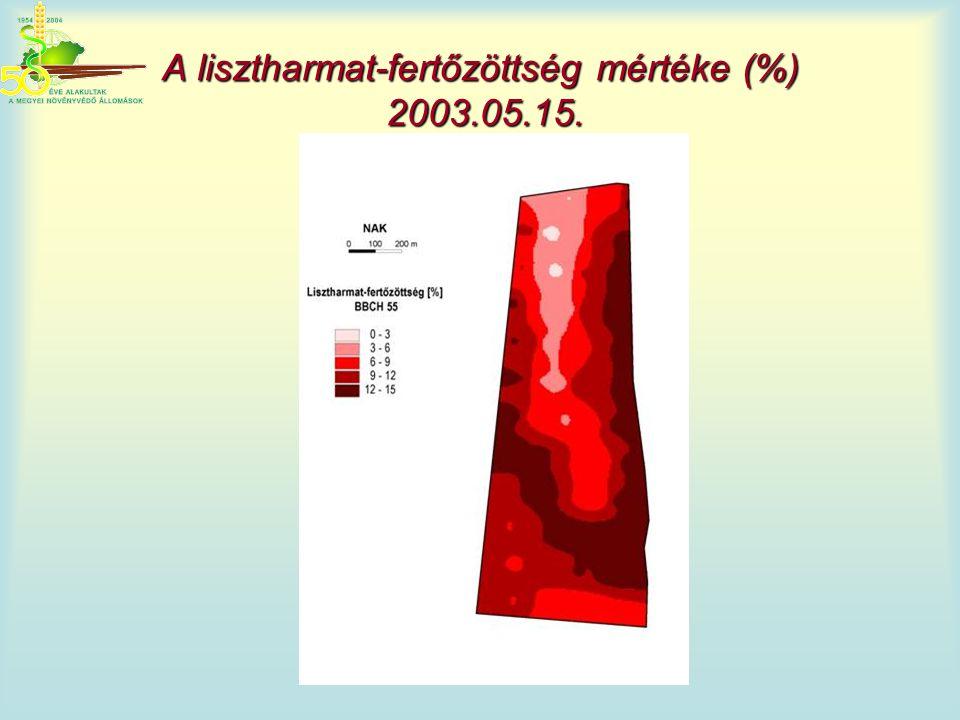 A lisztharmat-fertőzöttség mértéke (%) 2003.05.15.