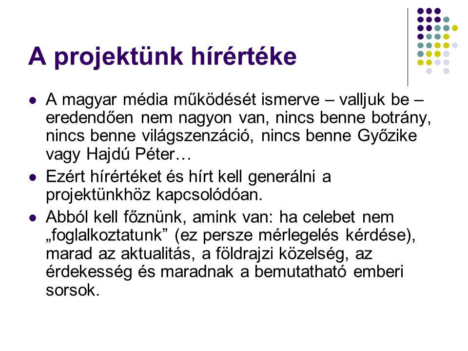 A projektünk hírértéke  A magyar média működését ismerve – valljuk be – eredendően nem nagyon van, nincs benne botrány, nincs benne világszenzáció, nincs benne Győzike vagy Hajdú Péter…  Ezért hírértéket és hírt kell generálni a projektünkhöz kapcsolódóan.