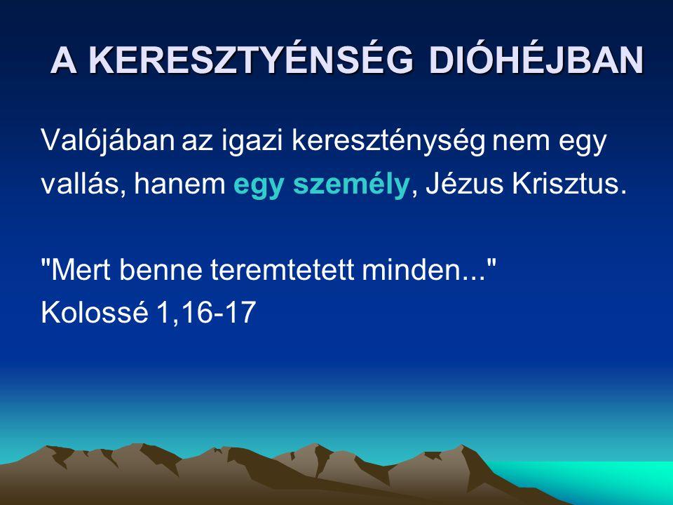 A KERESZTYÉNSÉG DIÓHÉJBAN Valójában az igazi kereszténység nem egy vallás, hanem egy személy, Jézus Krisztus.