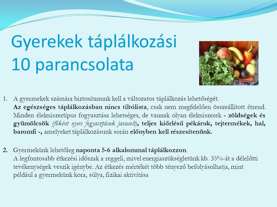 Gyerekek táplálkozási 10 parancsolata 1.A gyermekek számára biztosítanunk kell a változatos táplálkozás lehetőségét. Az egészséges táplálkozásban ninc
