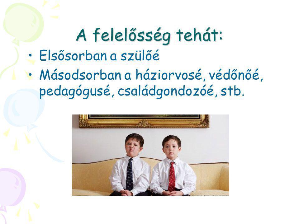 A felelősség tehát: •Elsősorban a szülőé •Másodsorban a háziorvosé, védőnőé, pedagógusé, családgondozóé, stb.