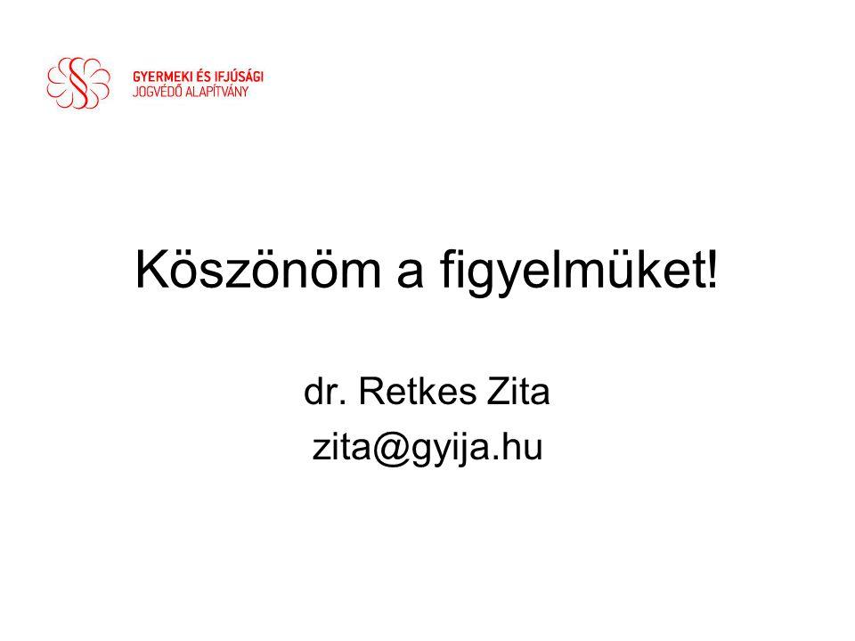 Köszönöm a figyelmüket! dr. Retkes Zita zita@gyija.hu