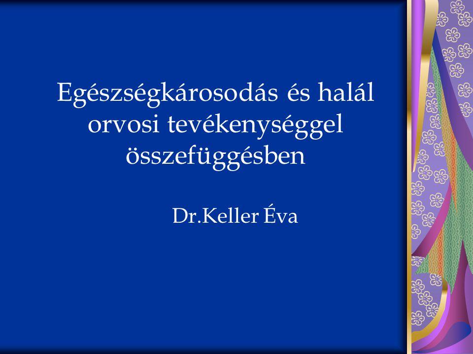 Egészségkárosodás és halál orvosi tevékenységgel összefüggésben Dr.Keller Éva