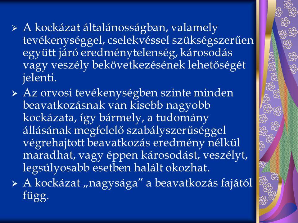 Jogesetek a magyar bírói gyakorlatból  Kockázatokról való tájékoztatás elmulasztása  gerinckorrekciós műtét, nyaki gerincvelő sérülés  lágyéksérvműtét, heregyulladás, hereeltáv.