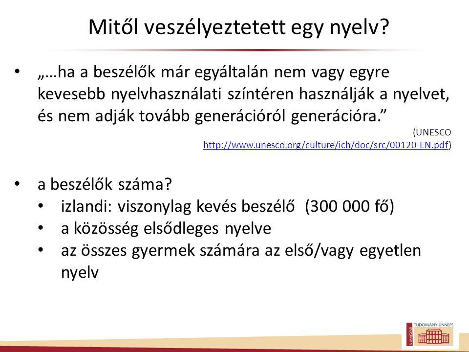"""• """"…ha a beszélők már egyáltalán nem vagy egyre kevesebb nyelvhasználati színtéren használják a nyelvet, és nem adják tovább generációról generációra. (UNESCO http://www.unesco.org/culture/ich/doc/src/00120-EN.pdfhttp://www.unesco.org/culture/ich/doc/src/00120-EN.pdf) • a beszélők száma."""